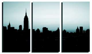 TEAL/GREEN NEW YORK NY SKYLINE 3 SET CANVAS ART PRINTS