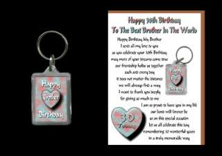 30TH HAPPY BIRTHDAY BROTHER 30 CARD AND KEYRING GIFT