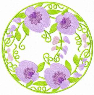 Sweetpea Flowers on Sweet Pea Flowers 12 Machine Embroidery Designs Set