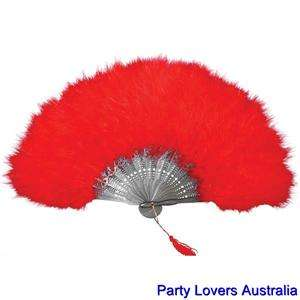 Red Feather Hand Held Folding Fan For 1920s 50s Burlesque Flapper