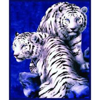 Super Plush White Tigers Queen Mink Style Blankets Brand New