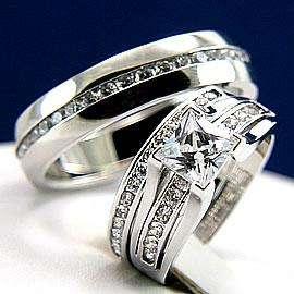 3pcs His Hers Engagement Wedding Bridal Band Ring Set Man and Woman