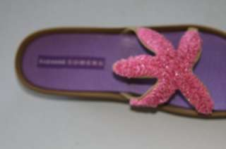 Suzanne Somers SZ 7.5 PINK/TAN Beaded Starfish Wedge Sandals open toe