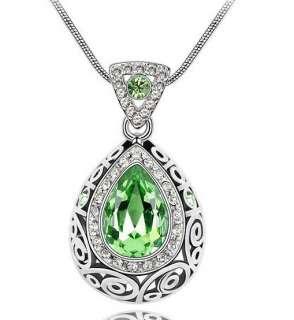 Fashion 18K GP Swarovski crystal necklace pendant options 6colour U