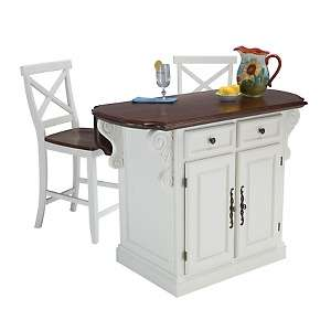 Traditions Kitchen Island and Bar Stools   White/Cherry