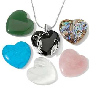 Gemstone Sterling Silver Interchangeable Heart Pendant and 22