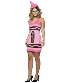 Crayola Tickle Me Pink Crayon Tank Dress Costume for Adults