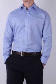 Blue Herringbone Classic Shirt by Aquascutum   Blue   Buy Shirts