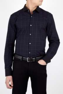 Hugo Boss Black  Navy Tartan Check Contrast Collar Shirt by Hugo Boss