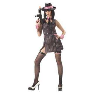 Flirty Mob Girl Adult Costume   Includes Dress, hat, collar, and