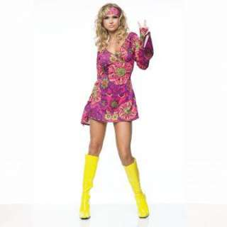 Go Go Dress Adult Costume   Costume includes hippie girl print dress