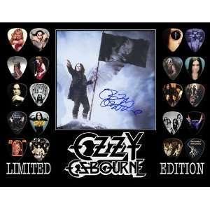 Ozzy Osbourne Framed 20 Guitar Pick Set Platinum Musical Instruments