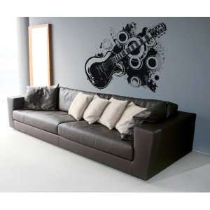 Vinyl Wall Decal Sticker 70s inspired electric guitar #OS