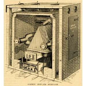 1873 Print Gothic Hot Air Furnace Brickwork Vintage Machine Alex M