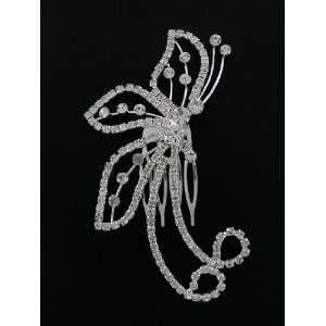 Fashion Hair Accessory ~Clear Crystals Butterfly Hair Clip