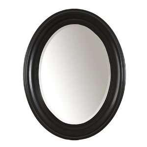 Contemporary Style Antique Black Oval Mirror