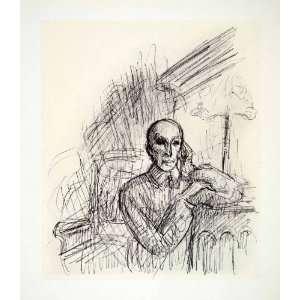 1969 Aquatone Print Alfred Kubin Modern Art Self Portrait Pencil