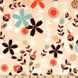 45 Wide Asian Pop Garden Peach Fabric By The Yard Arts