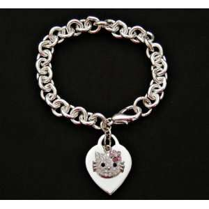 Hello Kitty Crystal Charm & Silver Heart Bracelet