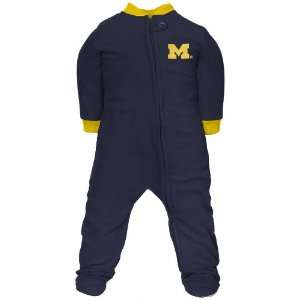 Michigan Wolverines Infant Navy Blue Fleece Footed Sleeper