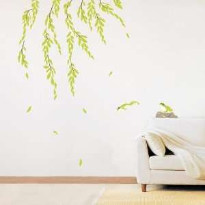 Modern House Green Frog and Willow Tree removable Vinyl