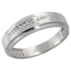 Sterling Silver Mens Diamond Wedding Band Ring 0.03 cttw Brilliant Cut