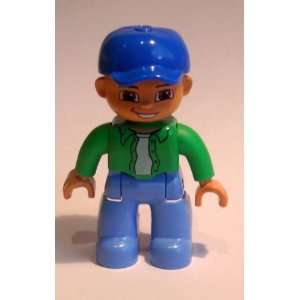 Lego Duplo Man with Blue Baseball Cap and Green Shirt Toys & Games