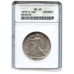 1917 S Walking Liberty Half Dollar MS63 ANACS (Mint Mark