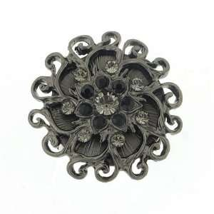 Black Sun Crystal Flower Cocktail Ring Jewelry