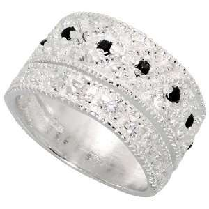 Sterling Silver Band, w/ High Quality Black & White CZ