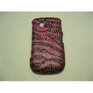 Blackberry 9630 Full Diamond Hot Pink w/ Black Rhinestone Case Cover