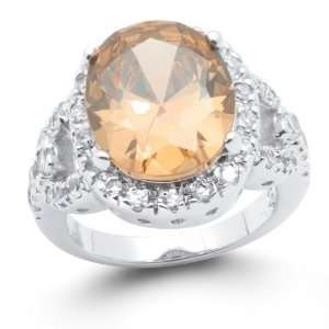 Bling Jewelry Oval Cut CZ Champagne Cocktail Ring   8 Jewelry