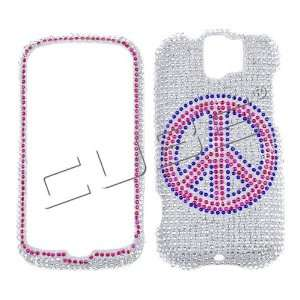 Peace Sign on Silver Crystal Art bling cover faceplate