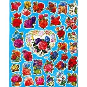 com Flowers Roses STICKER SHEET TM41 ~ Sunflower garden Hibiscus Blue