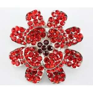 Red Swarovski Crystal Flower Brooch Pin