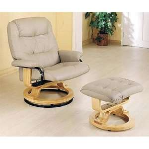 Traditional Style Swivel Recliner Chaise Chair & Ottoman