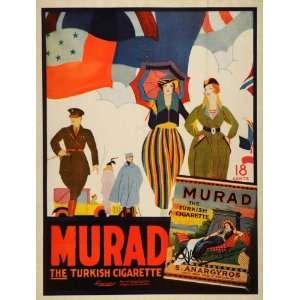 1918 Ad Murad Cigarettes Turkish Tobacco Women Military