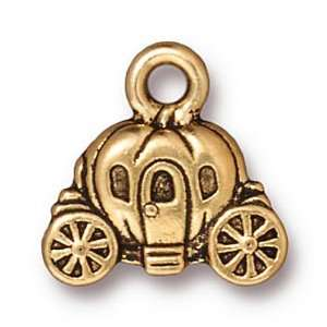 22K Gold Plated Pewter Cinderella Carriage Charm 14.5mm (1