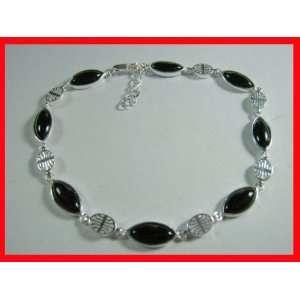 Black Onyx Asian Style Bracelet Sterling Silver #3825