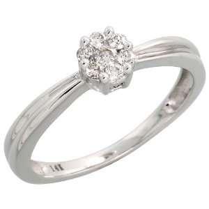 14k White Gold Fancy Cluster Diamond Ring, w/ 0.16 Carat Brilliant Cut