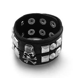Genuine Leather Bracelet with Metal Cross Bones , Skull