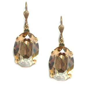 Plated Large Oval Champagne Swarovski Crystal Drop Earrings Jewelry
