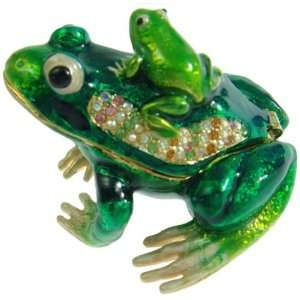 Green Frog Crystals Jewelry Trinket Ring Box  Toys & Games