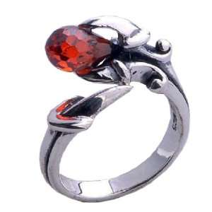 Style .925 Standard Silver Red Crystal Ring w/ Opening Insert for Men