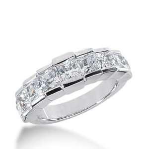 14k Gold Diamond Anniversary Wedding Ring 7 Princess Cut Diamonds 2.14
