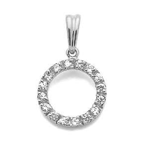 14K Gold Pendant Circle Cubic Zirconia White Gold Charm, 0