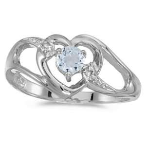 Gold March Birthstone Round Aquamarine And Diamond Heart Ring Jewelry