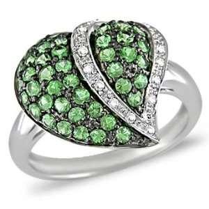 10k White Gold Tsavorite and Diamond Heart Ring (.06 cttw