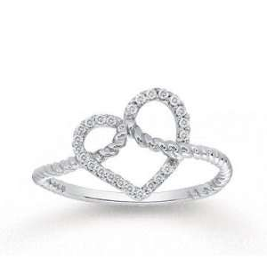 1/10 Carat Diamond 14k White Gold Heart Fashion Ring Jewelry