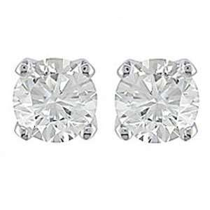 14k White Gold Diamond Stud Earrings Screw Back (1/3 ctw